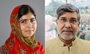 Nobel Peace Prize winners Malala Yousafzai and Kailash Satyarthi
